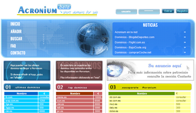 Acronium, compra venta de dominios cortos