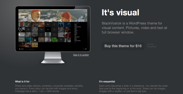 BlackVostok un theme para WordPress muy visual