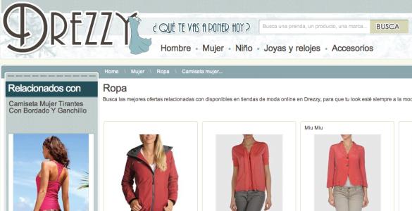 Drezzy, buscador visual de ropa en tiendas online