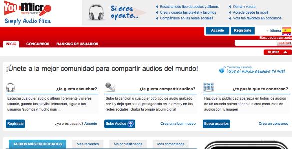 YouMicro comunidad para compartir audios en la red vía streaming