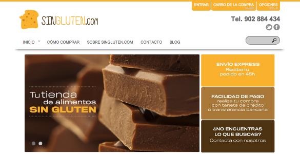 SinGluten, tienda online productos para celiacos