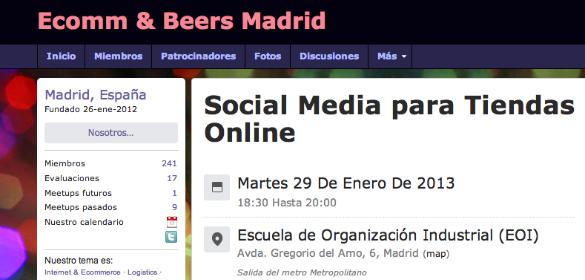 Estaré en Ecomm&Beers de enero dedicado a social media en ecommerce