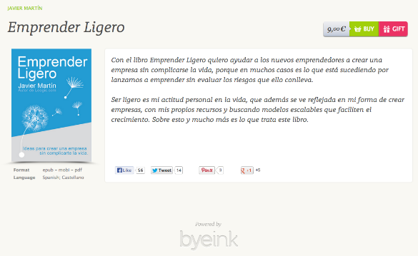 Ya puedes comprar mi libro Emprender Ligero en formato digital en Byeink