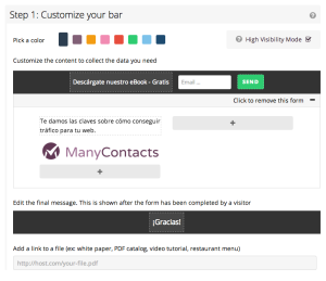 Customización de la barra de ManyContacts