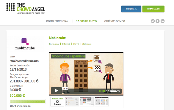 Inversión de 300.000 euros en Mobincube por 33 inversores en The Crowd Angel