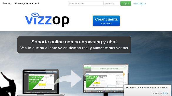 Vizzop, atención al cliente con chat y navegación compartida