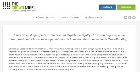The Crowd Angel suspende temporalmente operaciones por la ley del Crowdfunding
