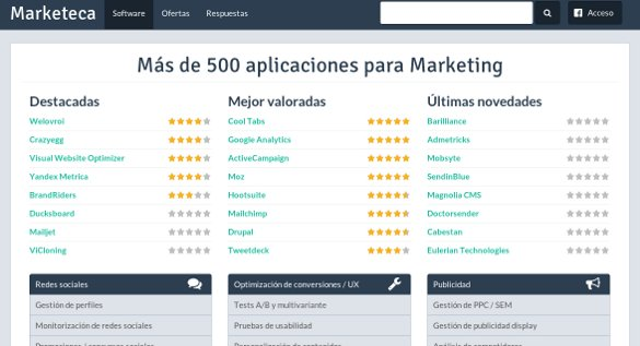 Todos las aplicaciones de marketing online en Marketeca