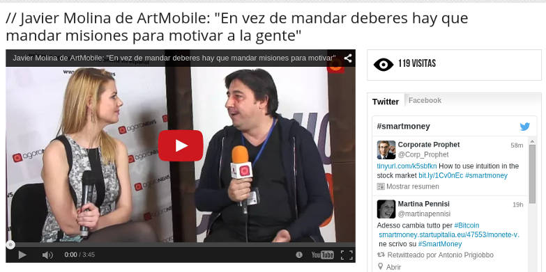 Entrevista a Javier Molina de ArtMobile en Smart Money