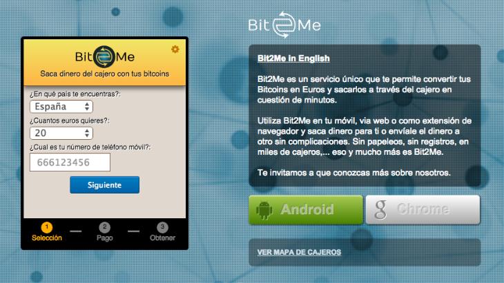 Bit2Me permite convertir tus Bitcoins en Euros y sacarlos a través de un cajero