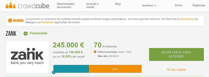 Zank recauda 245 mil euros en Crowdcube