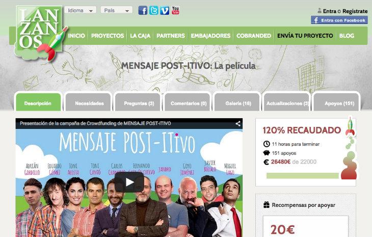 Mensaje POST-ITIVO un nuevo caso de éxito de crowdfunding en Lanzanos