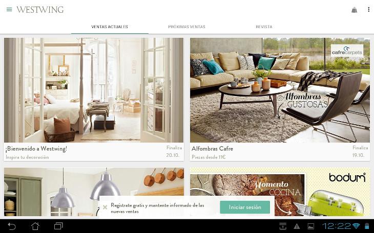 Análisis de app ecommerce: WestWing, decoración para el hogar