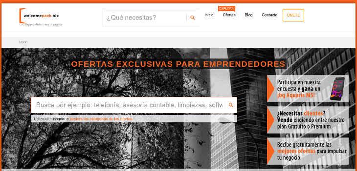Welcomepack, promociones de empresas para emprendedores