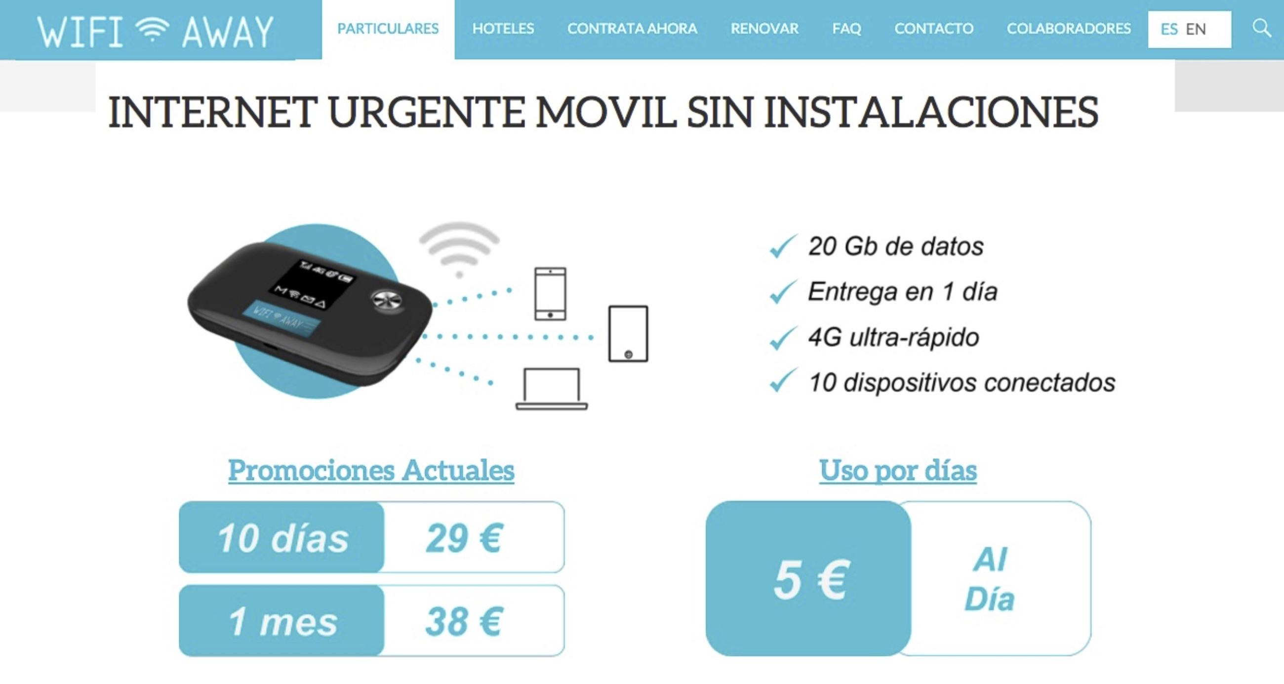 WifiAway, internet urgente móvil