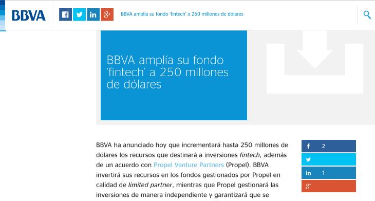 250 millones es el presupuesto de BBVA para invertir en Fintech