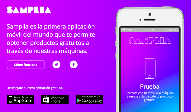 Samplia es la fusión del sampling y el vending con una app