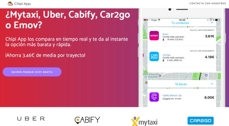 Chipi es la app que compara servicios de transporte en la ciudad