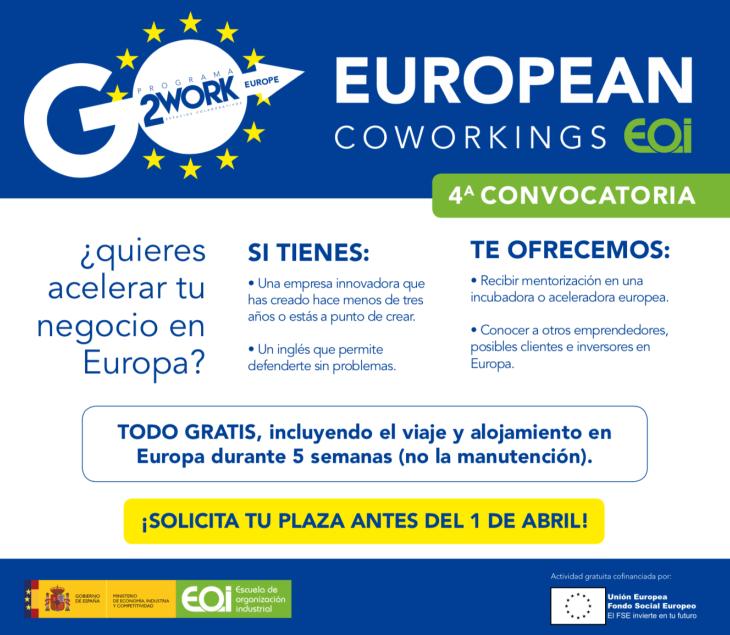 Nueva oportunidad para participar en el programa European Coworkings EOI