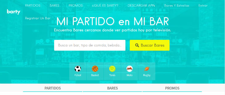 Barty app, los deportes en el bar